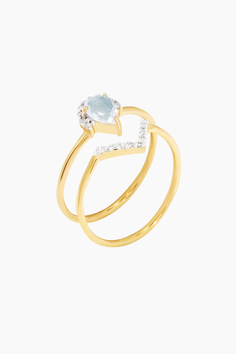 CARRIE ELIZABETH 14K Gold Vermeil Diamond & Aquamarine Set of 2 Stacking Rings Jewelry | Gold/ Light Aquamarine| Carrie Elizabeth 14K Gold Vermeil Angel Stacking Set - Gold/ Light Aquamarine