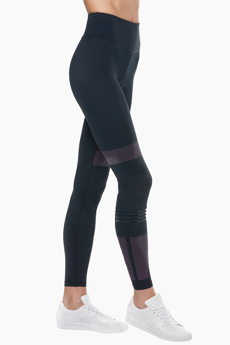 LILYBOD Polly Leggings - Blue Graphite Activewear | Blue Graphite| Lilybody Polly Leggings - Blue Graphite. Features:  Sleek performance meets super-fresh style in our stunning new Polly legging. High-waisted slimming silhouette Full-length crop designed to sit on or above the ankle Engineered purple graphic dot print Self-color silicon quad stripe right leg only Our signature 73%Poly/27%Spandex soft-touch fabric. View:  Side View