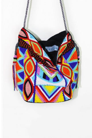 ASPIGA Pouch Bag - Multi Bag | Multi| Aspiga Pouch Bag - Multi Handmade pouch style bag Individually handbeaded Drawstring closure Silver shoulder strap Beaded tassels Close View
