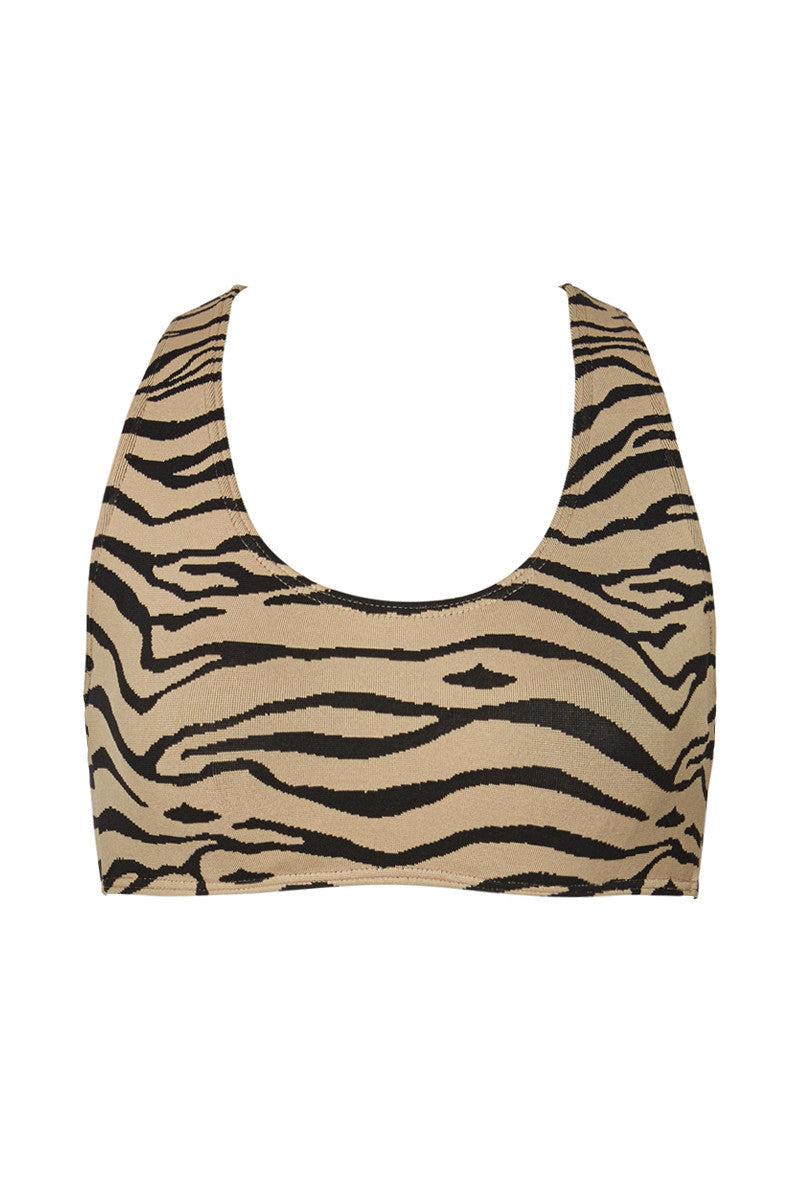 PRISM Manhattan Beach Top - Tiger Print Bikini Top | Tiger Print| Prism Manhattan Beach Bikini Top Sporty Scoop Neckline Racer Back Underwire Bra