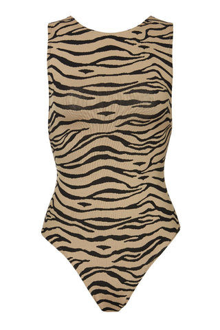 PRISM Samar One Piece - Tiger Print One Piece | Tiger Print| Prism Samar One Piece Flat Lay View Features:  High neckline  Low cut back Cross over straps  Easy to slip on High cut legs  Moderate coverage