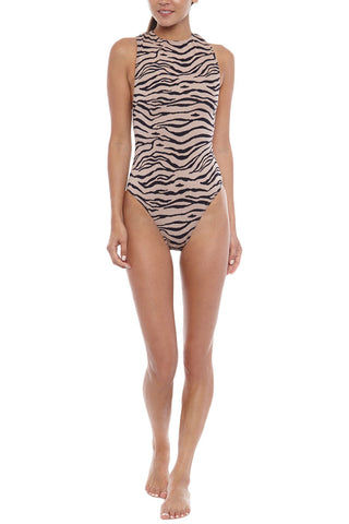 PRISM Samar High Neck One Piece Swimsuit - Tiger Print One Piece | Tiger Print| Prism Samar One Piece Features:  High neckline  Low cut back Cross over straps  Easy to slip on High cut legs  Moderate coverage