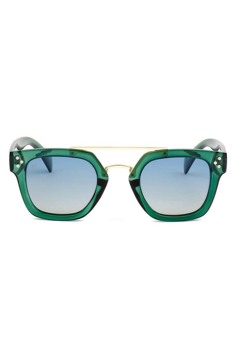 PRIVE REVAUX The Foxx Polarized Square Aviator Sunglasses - Green Sunglasses   Green  Prive Revaux The Foxx- Green