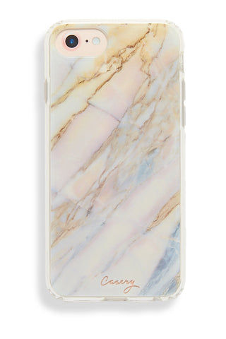 CASERY Shatter Marble iPhone 6s/7/8 Case Phone Accessories | Shatter Marble| Casery Shatter Marble iPhone 6s/7/8 Case Clear matte plastic iPhone 6/7/8 case with iridescent blue, pink, silver, and gold marble design. Made of top-quality German Bayor plastic with shock-absorbent rubber sides. Front View