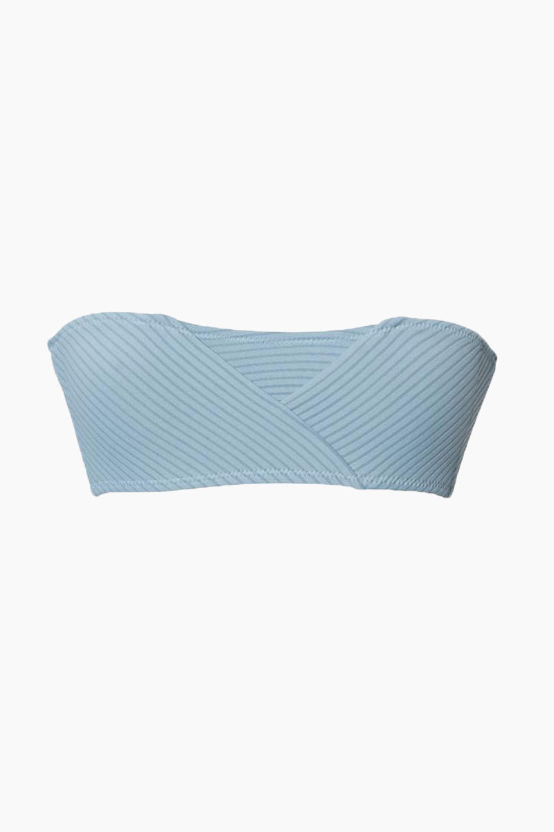 MADE BY DAWN Puzzle Jumper Bandeau Bikini Top - Sky Rib Bikini Top | Sky Rib| Made by Dawn Puzzle Jumper Bandeau Bikini Top - Sky Rib. Features:  Strapless bandeau  Asymmetric ribbed detail  49% Polyester, 38% Nylon, 13% Spandex Made in the USA Front View