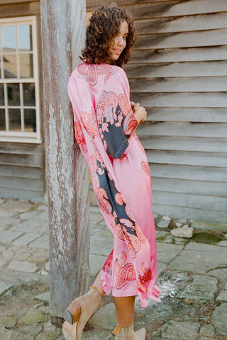 LENNI Roxi Kimono - Scarf Cover Up | Scarf| Lenni Roxi Full Length Kimono - Scarf. Back View. Features:  Hand-printed pink scarf  Full length falls at ankles Side Slits for ease of movement and flow Wide Sleeves