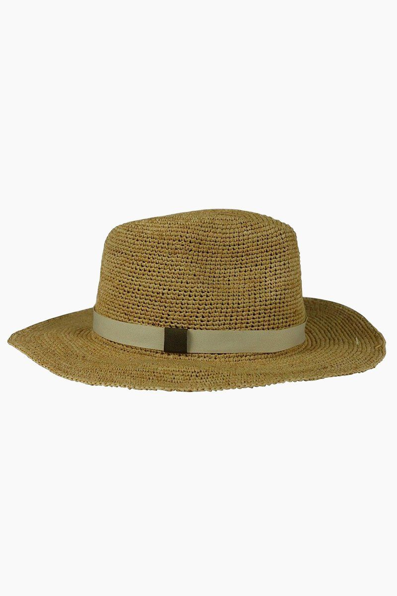 HAT ATTACK Raffia Crochet Rancher Hat - Bi-Color Hat | Natural/Bi-Color| Hat Attack Raffia Crochet Rancher Hat - Natural/Bi-Color Features:  Lightweight crochet rancher hat Grosgrain hatband with bow detailing Raffia Spot clean Front View