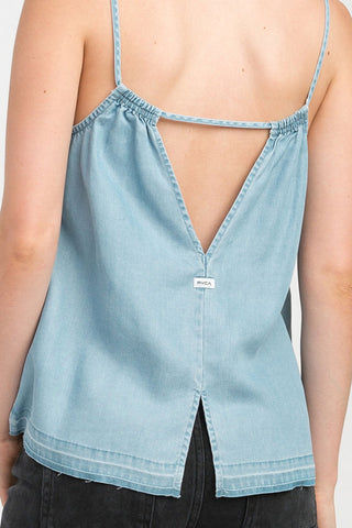 RVCA Raided Tank Top - Chambray Top | Chambray| RVCA Raided Tank Top - Chambray V-neck cami tank top  Thin straps  Center front seam Single strap across the v-cut back  Back slit at the hem for added movement 100% lyocell Back View