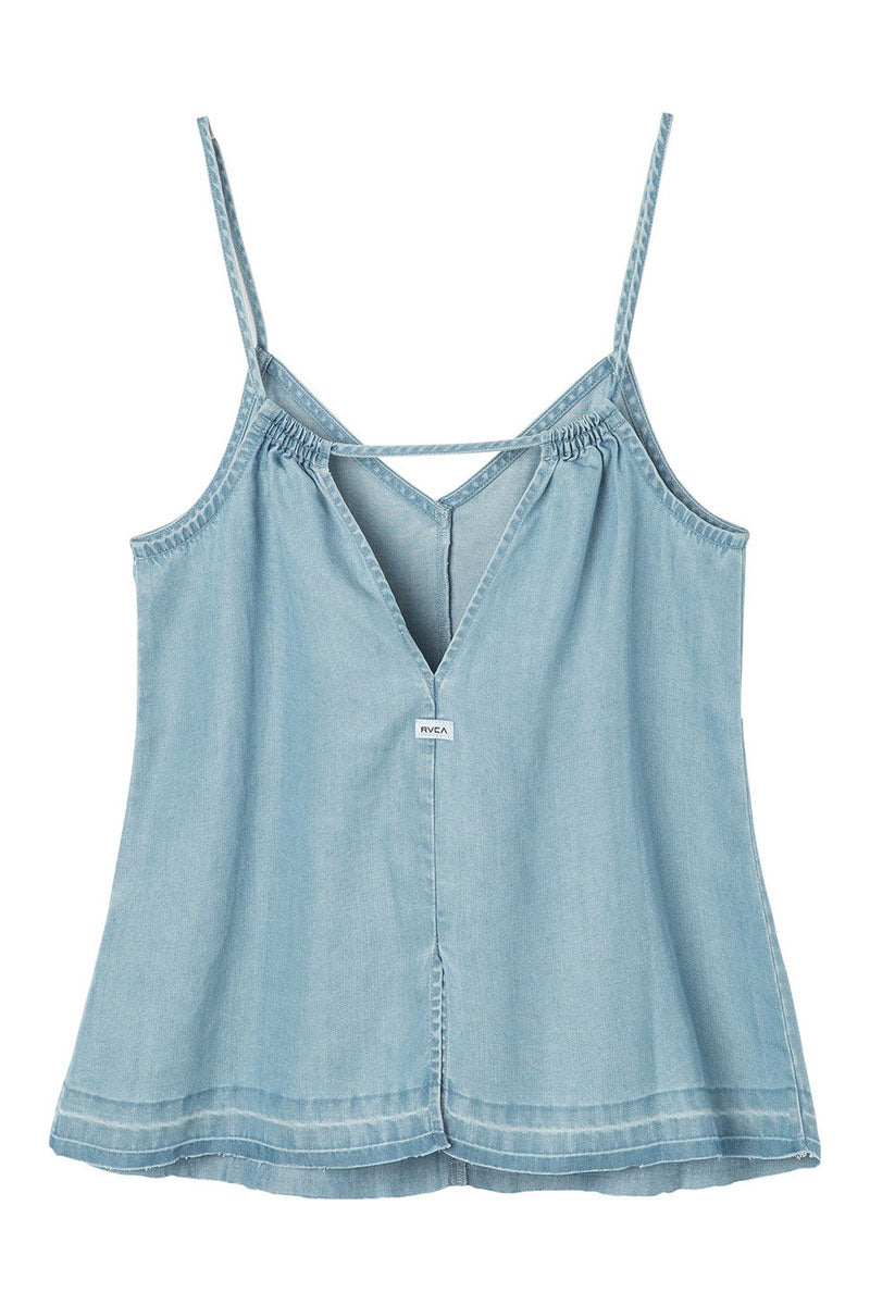 RVCA Raided Tank Top - Chambray Top | Chambray| RVCA Raided Tank Top - Chambray V-neck cami tank top  Thin straps  Center front seam Single strap across the v-cut back  Back slit at the hem for added movement 100% lyocell Flatlay View