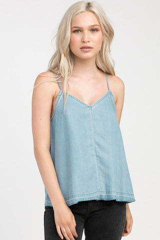 RVCA Raided Tank Top - Chambray Top | Chambray| RVCA Raided Tank Top - Chambray V-neck cami tank top  Thin straps  Center front seam Single strap across the v-cut back  Back slit at the hem for added movement 100% lyocell Front View