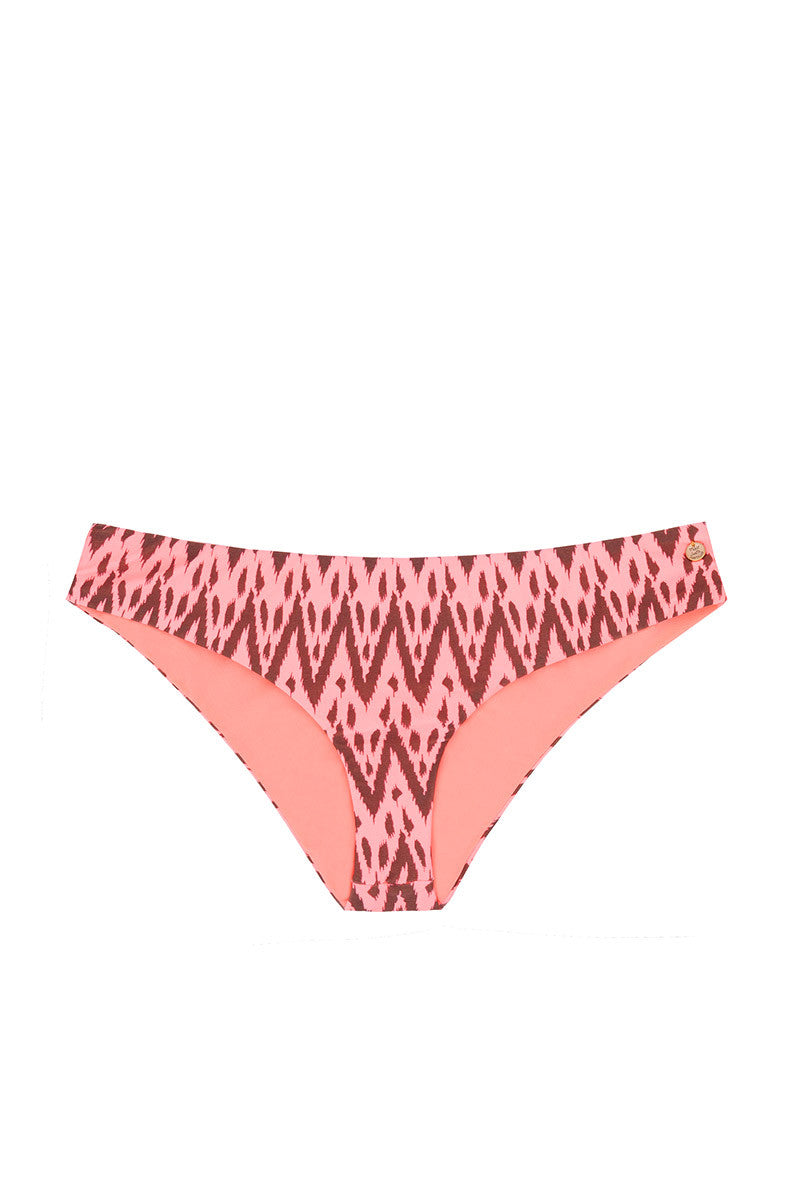 RAISINS California Full Coverage Bikini Bottom - Radio Waves Print Bikini Top | Radio Waves Print| California Full Coverage Bikini Bottom - Radio Waves Print . Flat Lay  View. Full Coverage. Red with Zig Zag for Pattern