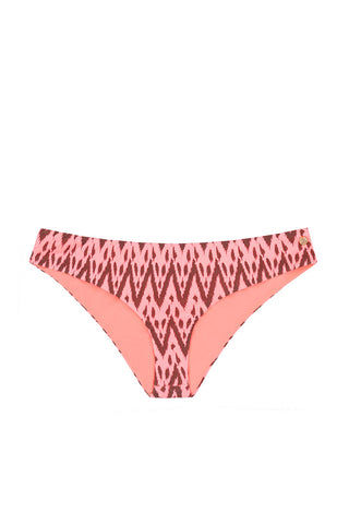 RAISINS California Hipster Full Bikini Bottom - Radio Pink Waves Print Bikini Bottom | Radio Pink Waves Print| Raisins California Hipster Full Bikini Bottom - Radio Pink Waves Print Full Coverage. Red with Zig Zag for Pattern Front View