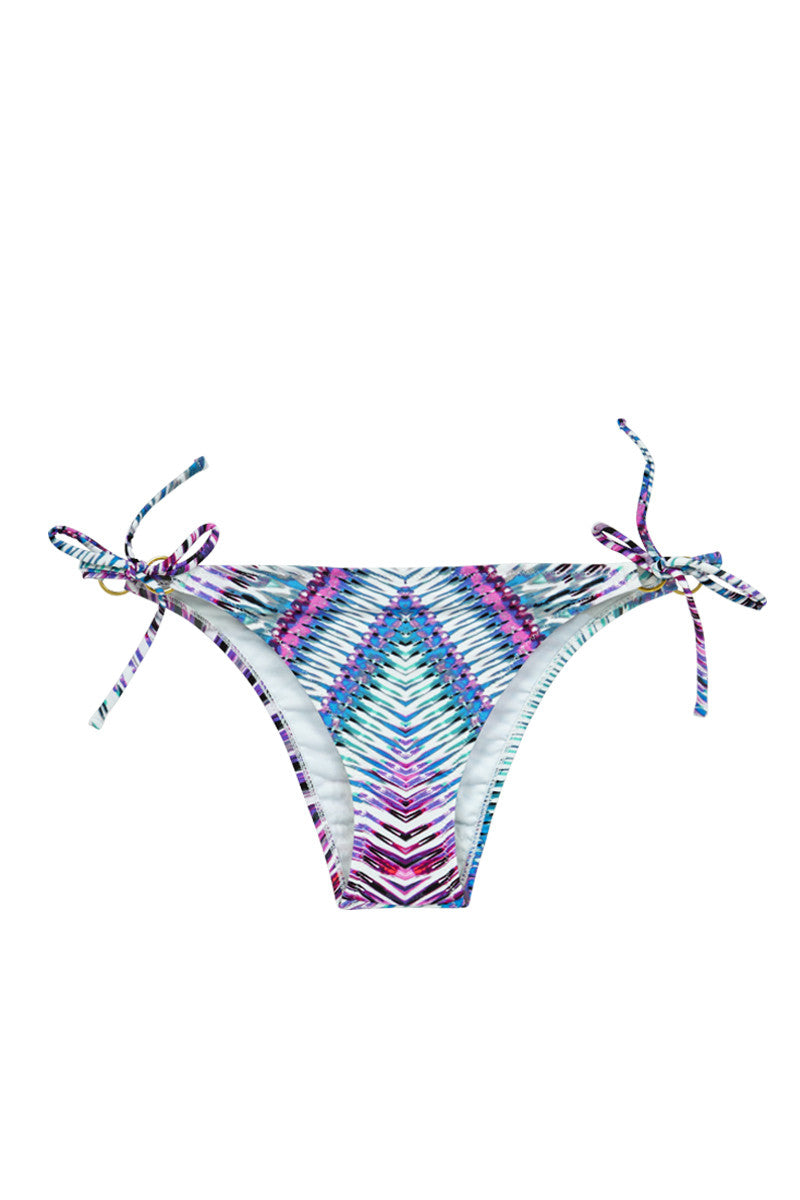 RAISINS Stringer Tie Side Cheeky Bikini Bottom - Purple Rain Abstract Print Bikini Bottom | Purple Rain Abstract Print| Raisins Stringer Cheeky Tie Side Bikini Bottom - Purple Rain Abstract Print Classic tie side bikini bottoms in a blue, purple and white purple rain abstract print that will be sure to turn heads. Cheeky coverage shows off your curves without revealing too much. Adjustable side ties Front View
