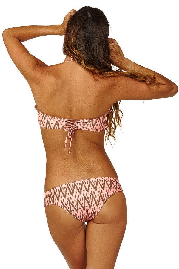 RAISINS Copacabana Ruffled Bandeau Bikini Top - Radio Waves Print Bikini Top | Radio Waves Print| Copacabana Ruffled Bandeau Bikini Top - Radio Waves Print. Back View. Front ruffle detail. Lace up back detail. Removable padding.