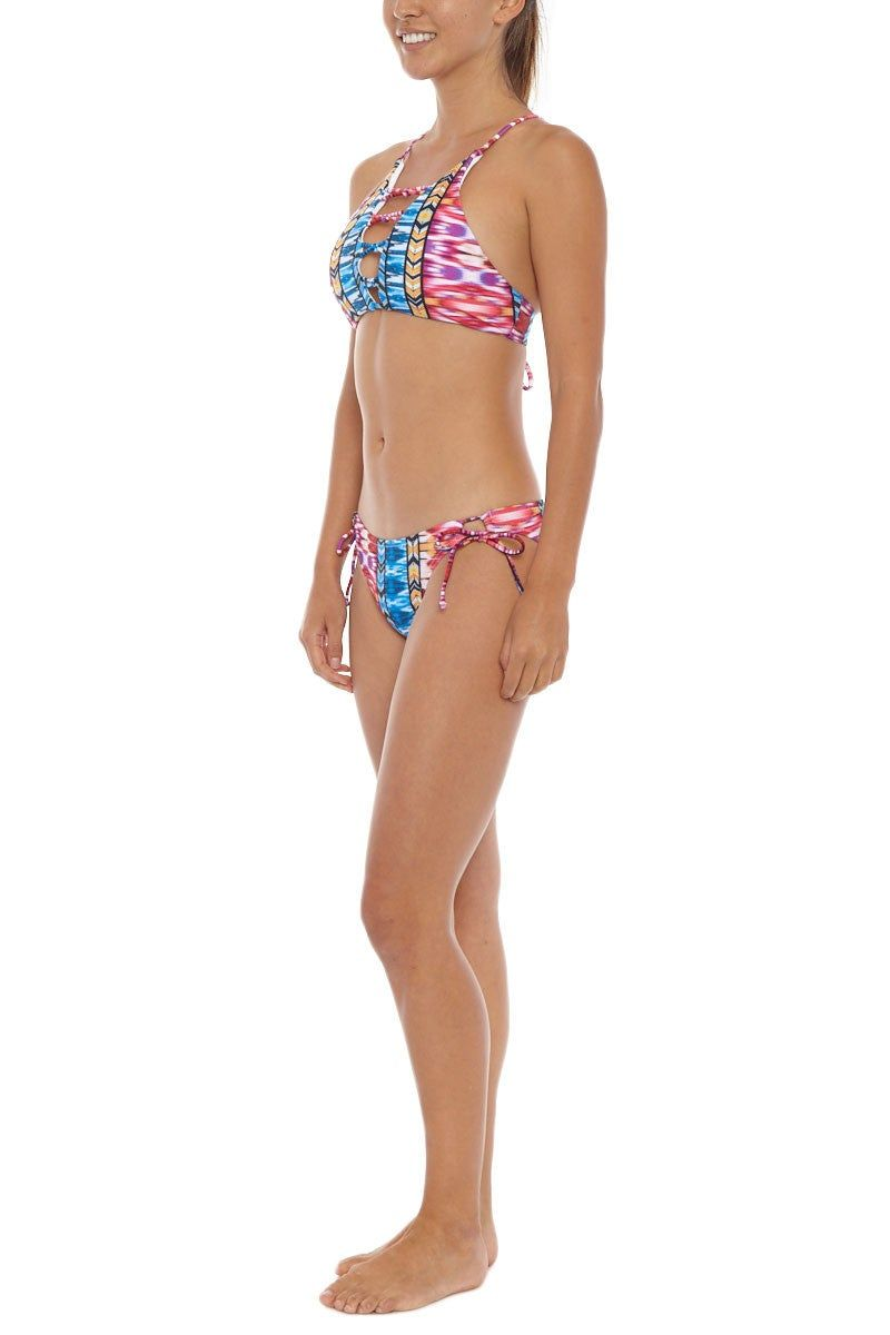 RAISINS Sweet Pea Tie Side Bikini Bottom - Purple Sunset Print Bikini Bottom   Sunset Multi  Raisins Sweet Pea Bottom