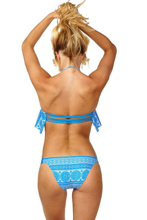 RAISINS Miami Ruched Sides Hipster Bikini Bottom - Blue Moon Abstract Print Bikini Bottom   Blue Moon Abstract Print  Raisins Miami Ruched Sides Hipster Bikini Bottom - Blue Moon Abstract Print Low Rise hipster Bottom. Full Coverage. Ruched Side Straps Back View