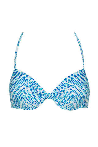 RAISINS Layla Strappy Underwire Top - Blue Marine Print Bikini Top | Blue Marine Print| Layla Strappy Underwire Top - Blue Marine Print. Flat Lay View. Underwire for support. Padding for push up. Adjustable at the back.