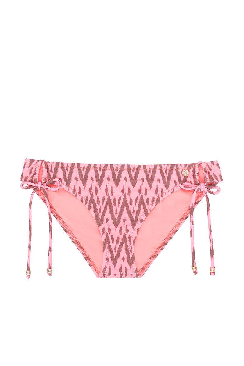 RAISINS Sweet Pea Tie Side Bikini Bottom - Radio Waves Print Bikini Top | Radio Waves Print| Sweet Pea Tie Side Bikini Bottom - Radio Waves Print. Flat Lay View. Tie Sides. Moderate Coverage.