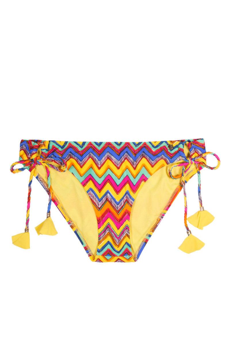 RAISINS Sweet Pea Tie Side Bikini Bottom Bikini Bottom | Zigzag Shores Print| Raisins Sweet Pea Side Ties Bikini Bottom Flat Lay View. Side Ties provide adjustable fit. Patterned  lining. Full Coverage.