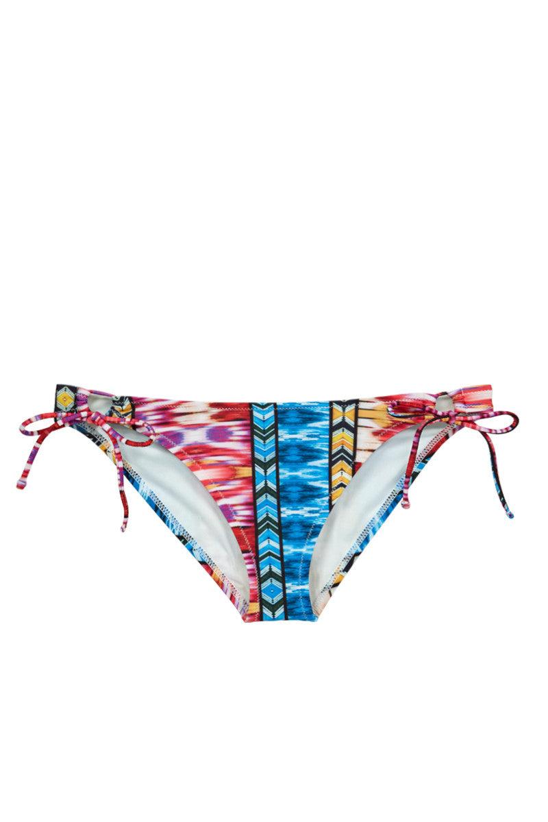 RAISINS Sweet Pea Tie Side Bikini Bottom - Sunset Tribal Print Bikini Bottom | Sunset Tribal Print| Raisins Sweet Pea Tie Side Bikini Bottom - Sunset Tribal Print  Tie Side Bottom. Moderate Coverage. Front View