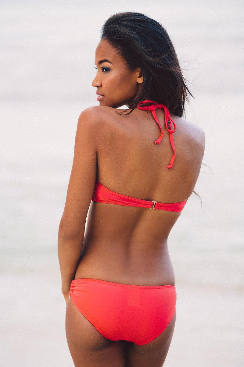 BEACH JOY Twist Bandeau Bikini Top - Red Bikini Top | Red| Beach Joy Twist Bandeau Bikini Top - Red Features:  Removable strap Lightly padded, removable cups Fully lined Body: 82% Nylon, 18% Spandex Lining: 100% Polyamide Back View