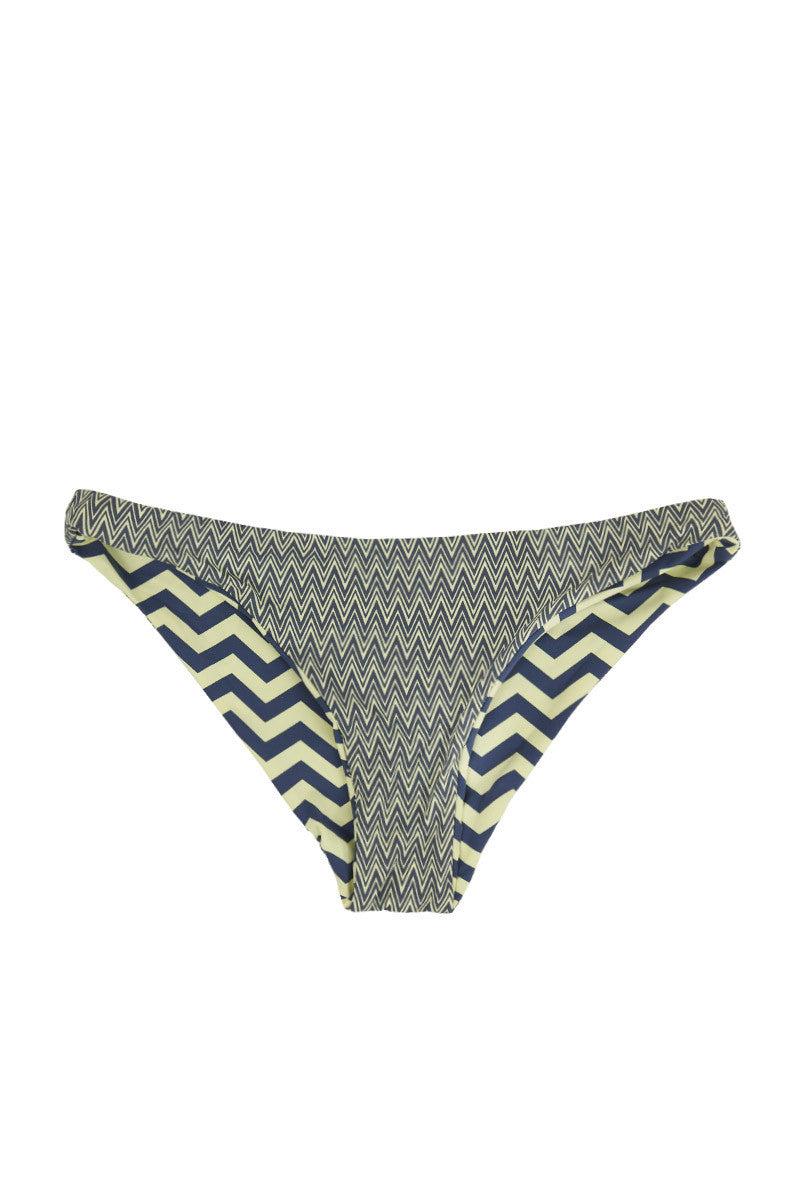 BEACH JOY Reversible Cheeky Bikini Bottom - Yellow/Gray Zig Zag Bikini Bottom   Reversible Yellow & Gray 