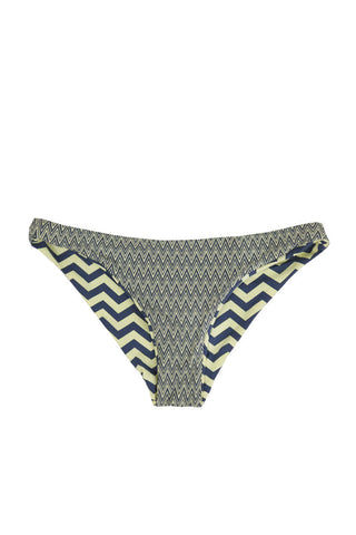 BEACH JOY Reversible Hipster Cheeky Bikini Bottom - Yellow & Gray Chevron Print Bikini Bottom | Yellow & Gray Chevron Print| Beach Joy Reversible Hipster Cheeky Bikini Bottom - Yellow & Gray Chevron Print Reversible hipster cheeky bikini bottom in powder yellow and grey chevron print.  Front View