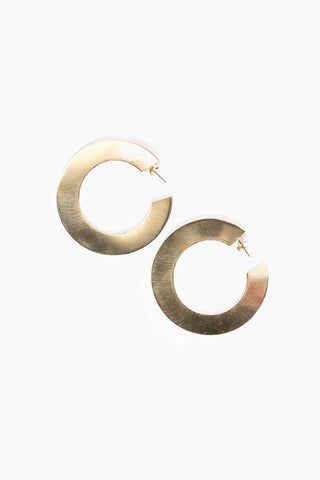 "PARADIGM DESIGN Revolution Hoops - Gold Jewelry | Gold| Paradigm Design Revolution Hoops - Gold Bold sterling silver hoops that are sure to make a statement 2"" diameter Front View"