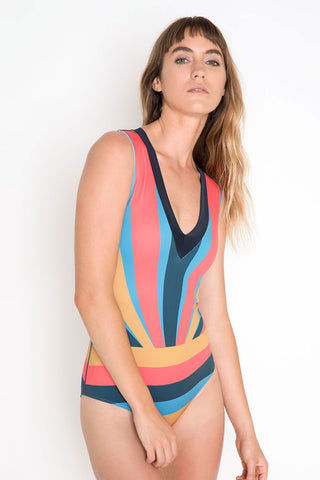 SEEA Rhea V Neck One Piece Swimsuit - Sunset One Piece | Sunrise| Seea Rhea One Piece Vintage-inspired one piece swimsuit with multicolored stripes. V-cut neckline. Moderate to full coverage.
