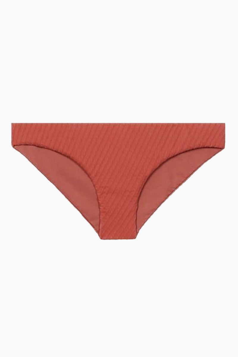 FELLA Rick James Bottom - Spice Bikini Bottom | Spice | Fella Rick James Bottom product image front view.  Coral hipster bikini bottom in on trend textured fabric with lower cut legs and fuller bottom for moderate coverage overall