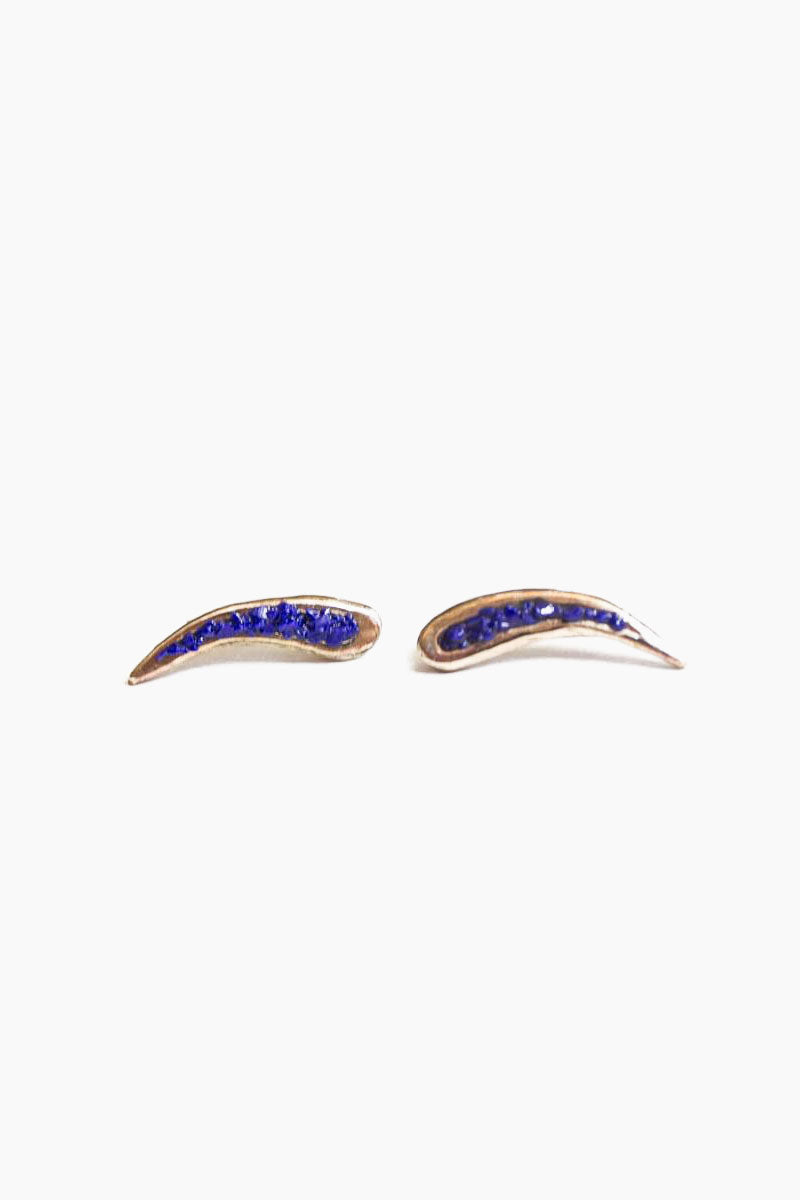 DEA DIA JEWELRY Rift Ear Climbers - Blue Lapis Jewelry | Rift Ear Climbers - Blue Lapis| Dea Dia Jewelry Cast Stud Earrings  Hand Carved  Sterling Silver Post  Filled with Blue Lapis
