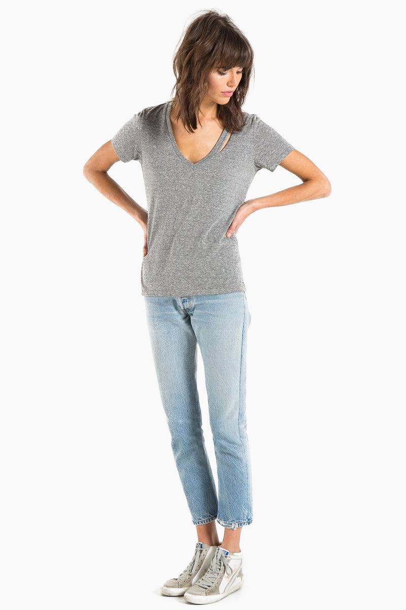 N:PHILANTHROPY Ringo Deep V Tee - Heather Grey Top | Heather Grey| N:PHILANTHROPY Ringo Deep V Tee - Heather Grey. Features:  V neck tee Super soft cotton Easy fit with signature strap detail Front View