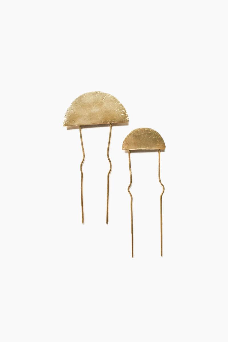 DEA DIA JEWELRY Rising Sun Bun Pin - Smooth Hair Accessories | Rising Sun Bun Pin - Smooth | Dea Dia Jewelry handmade brass wire sun bun pin