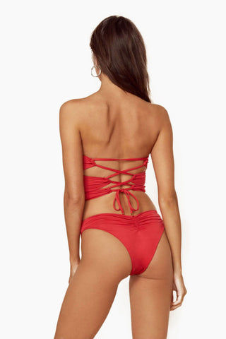 BLUE LIFE Rising Sun Strapless One Piece Swimsuit - Hibiscus One Piece | Hibiscus|Rising Sun Strapless One Piece Swimsuit - Features:  Sweetheart Neckline  Strapless Ring Detail  Sexy Cut Outs  Lace Up Back  High Cut  Ruched Back  Cheeky Coverage