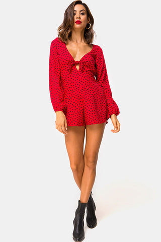 MOTEL Romalo Longsleeve Front Tie Romper - Mini Diana Dot Red & Black Print Romper | Mini Diana Dot Red & Black Print| Motel Romalo Longsleeve Front Tie Romper - Mini Diana Dot Red & Black Print V Neckline Front Tie Closure Long Sleeve With Elastic Wrist  Front View
