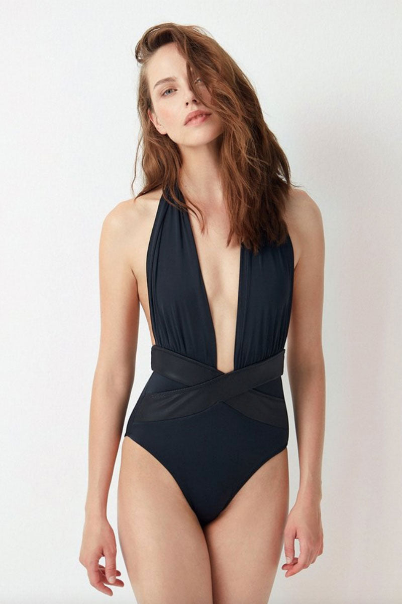 OYE SWIMWEAR Roman Plunge Halter One Piece Swimsuit - Black One Piece | Black|Oye Swimwear Roman Plunge Halter One Piece Swimsuit - Black. Features: Black deep plunging OYE Roman Plunge One Piece with criss-cross bands that enhance the waistline Front View