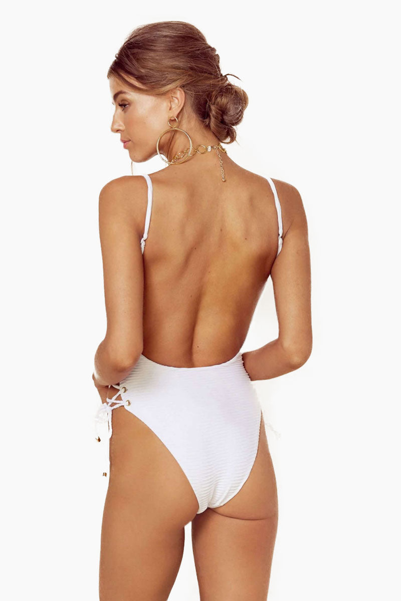 BLUE LIFE Roped Up One Piece Swimsuit - White Jacquard One Piece | White Jacquard| Blue Life Roped One Piece White deep plunge neckline one piece with adjustable spaghetti straps and lace up sides. Cheeky coverage and low scoop back.