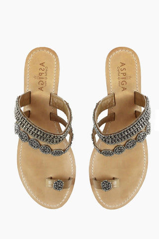 ASPIGA Rosa Sandals - Silver Sandals | Silver| Aspiga Rosa Sandals - Silver Toe loop style Over the foot straps with beadwork Non slip flat heel Genuine tan leather upper Hand crafted in India Front View