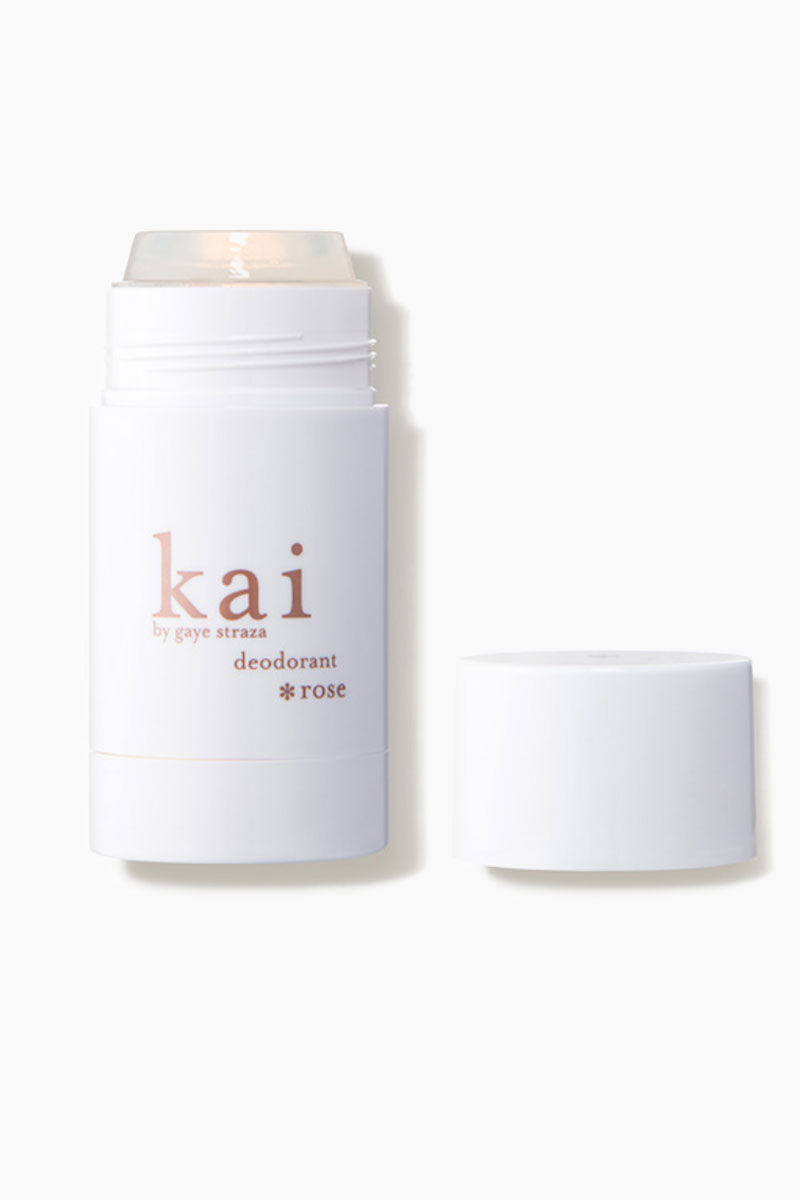 KAI Rose Deodorant Beauty | KAI Rose Deodorant Front View Delicately crafted with kai's signature fragrance layered with rose absolute, our translucent formula combines vitamin e, chamomile, and plant extracts with natural skin conditioning sugars to control moisture and keep you feeling dry, fresh and subtly kai-scented throughout the day.  aluminum free and great for sensitive skin.  2.6 oz made in the u.s.a.