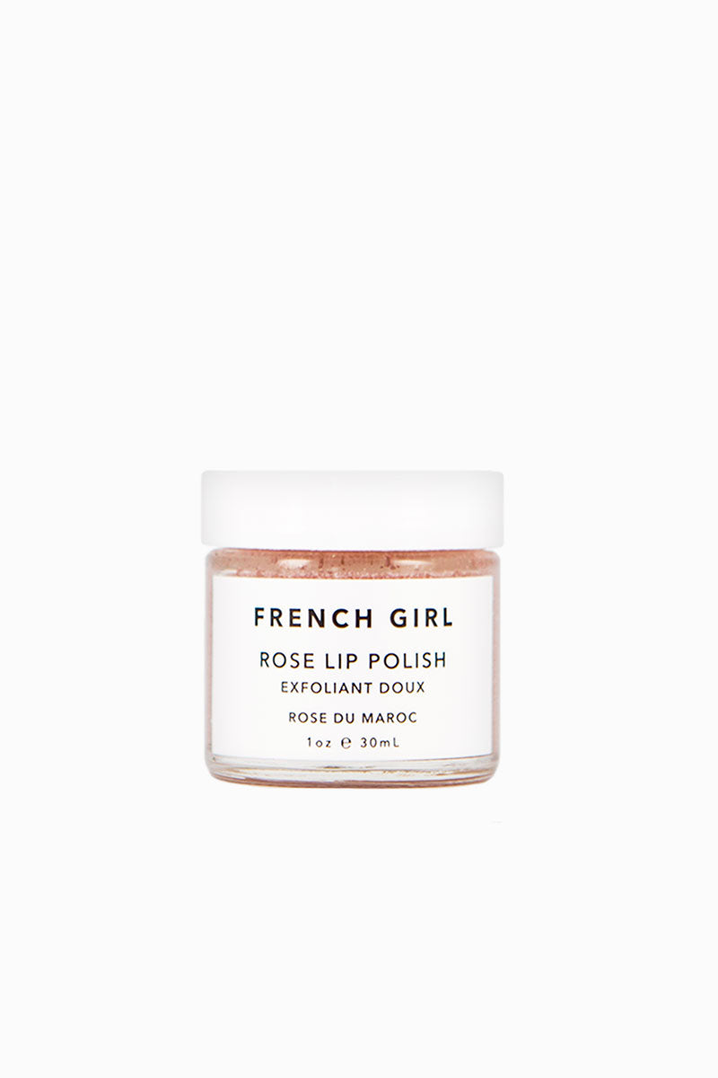 FRENCH GIRL ORGANICS Rose Lip Polish - Rose Du Maroc Beauty | Rose Du Maroc | French Girl Organics Rose Lip Polish - Rose Du Maroc A rose & mint-infused sugar scrub to gently remove dry skin and leave lips supple and hydrated  Gently massage a pea-sized amount onto damp lips; rinse Front View