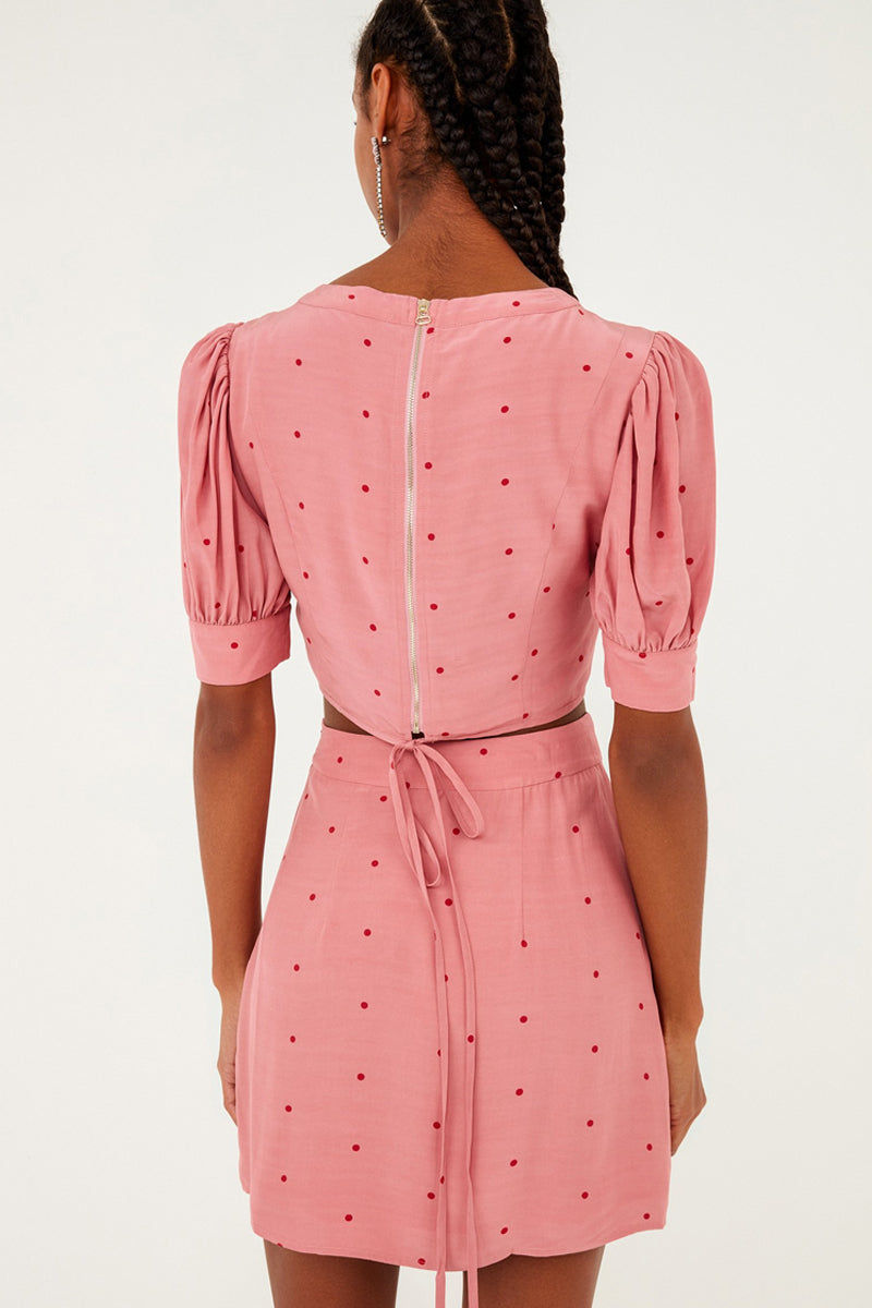 FOR LOVE AND LEMONS Rosie High Neck Button Up Crop Top - Rose Pink Polka Dot Print Top | Rose Dot Print|  For Love And Lemons Rosie High Neck Button Up Crop Top - Rose Pink Polka Dot Print  Features:  Button Detailing  Puff Sleeves with Cuff Exposed Back Zipper Closure Adjustable Tie Neckline Self: 65% Rayon/35% Viscose; Lining: 97% Polyester/3% Spandex Back View