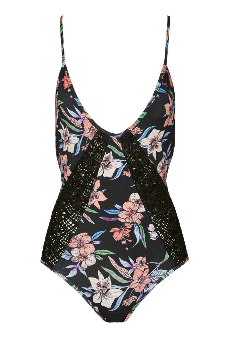 ROVE Paris Crochet Criss Cross Back One Piece Swimsuit - Wild Orchid Floral Print One Piece | Wild Orchid Floral Print| Rove Paris Crochet Criss Cross Back One Piece Swimsuit - Wild Orchid Floral Print V-neck Adjustable cross-back straps  Cheeky coverage Crochet inserts  80% Nyon, 20% Lycra  Front View
