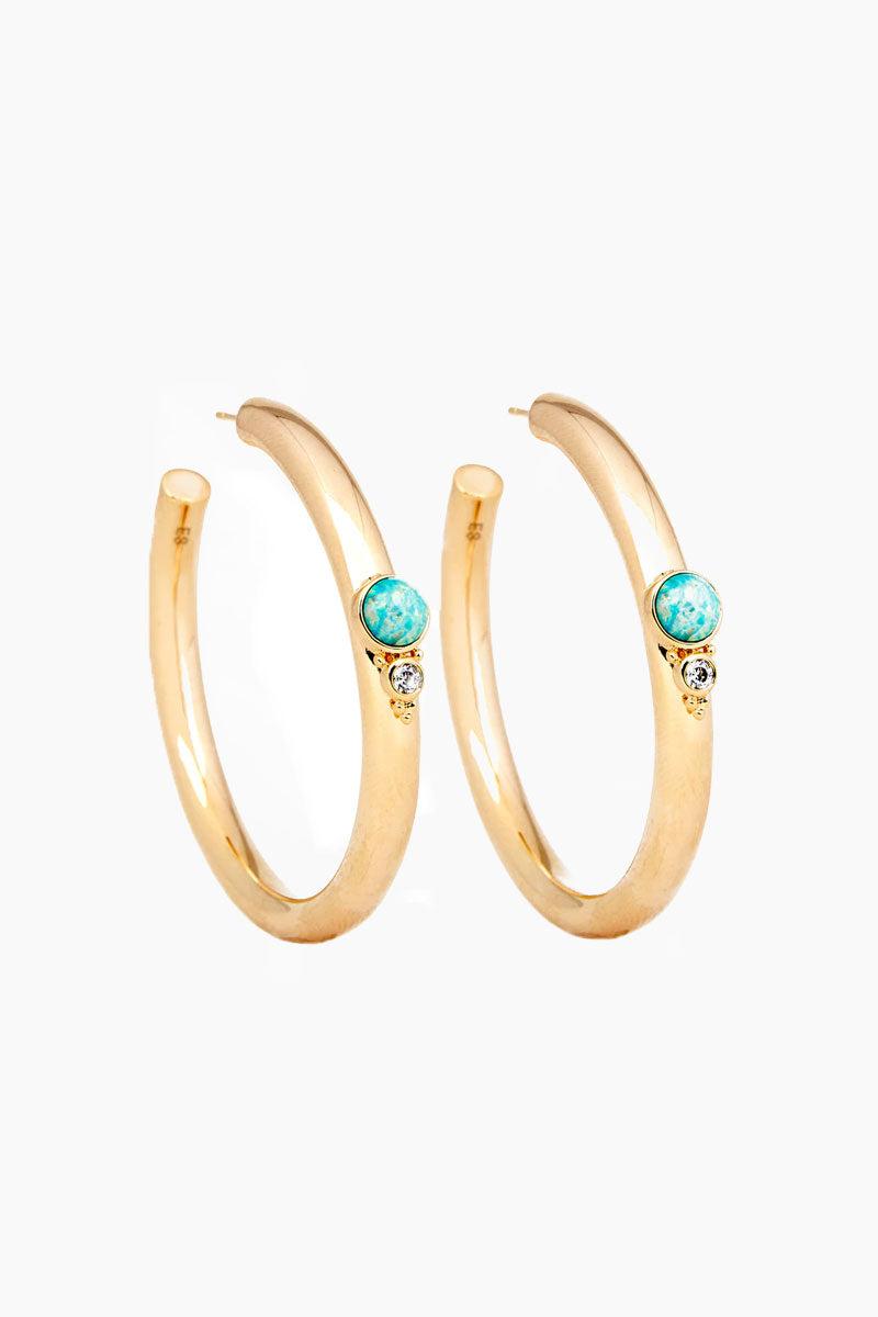 ELIZABETH STONE Royal Gemstone Hoops - Aqua Opal Jewelry | Aqua Opal| ELIZABETH STONE Royal Gemstone Hoops