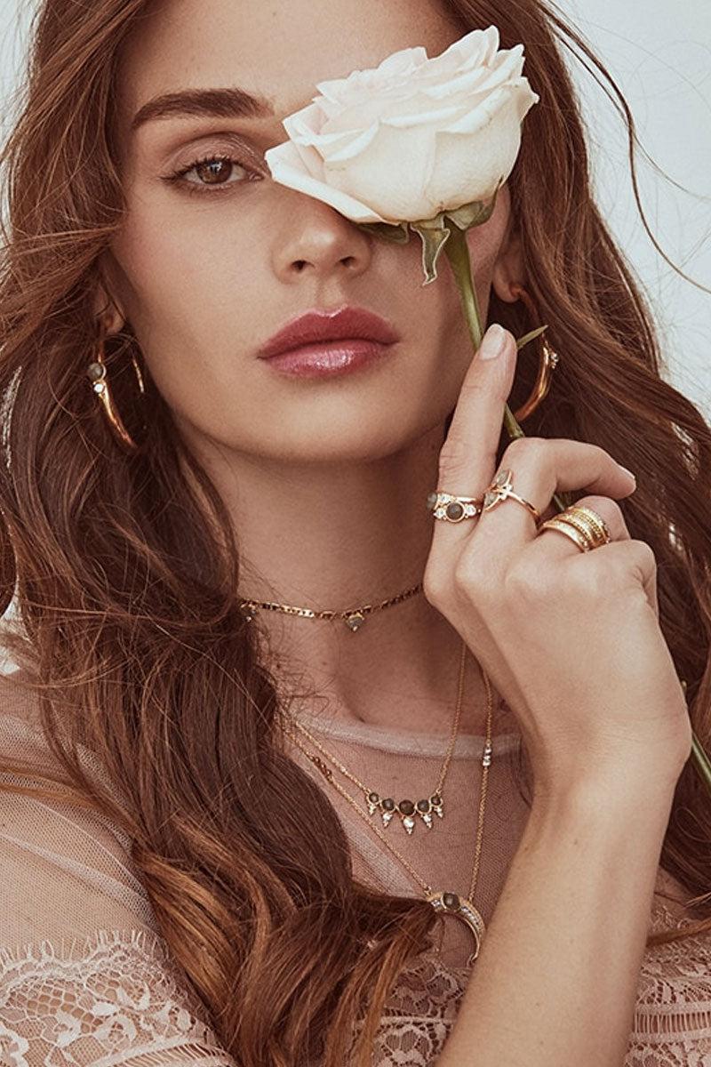 ELIZABETH STONE Royal Gemstone Hoops - Labradorite Jewelry | Labradorite| ELIZABETH STONE Royal Gemstone Hoops
