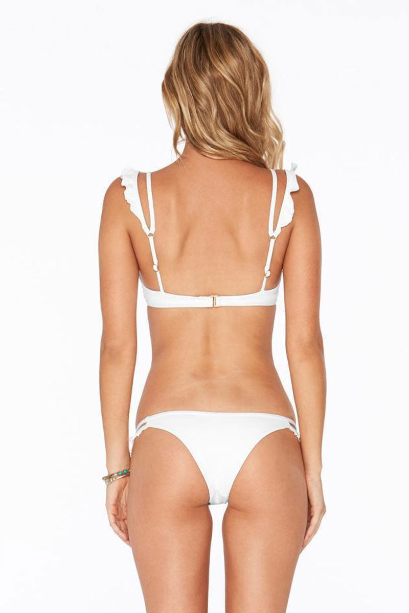 L SPACE Zephyr Bottom - White Bikini Bottom | White| L Space Zephyr Bottom All white bikini bottom. Low rise cut. Double thin straps on hips with ruffle detailing. Cheeky coverage.