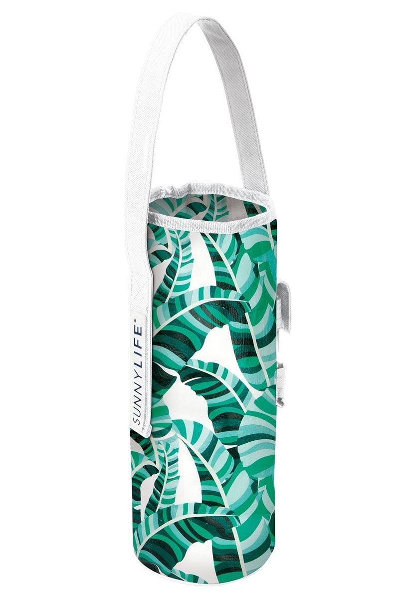 SUNNYLIFE Cooler Bottle Tote - Banana Palm Bag | Banana Palm| Sunnylife Cooler Bottle Tote - Banana Palm Front View Banana Palm Bottle Tote  White Handle Strap Aluminium Interior  Holds 1 - 750ml wine bottle  Includes bottle opener  Suitable for ages 12+ Measurement: 5.5 x 5.5 x 13 In Material/s: Polyester, Aluminium Packaged: 5.1 x 1.1 x 12.5 In Weight: 0.5 Lbs