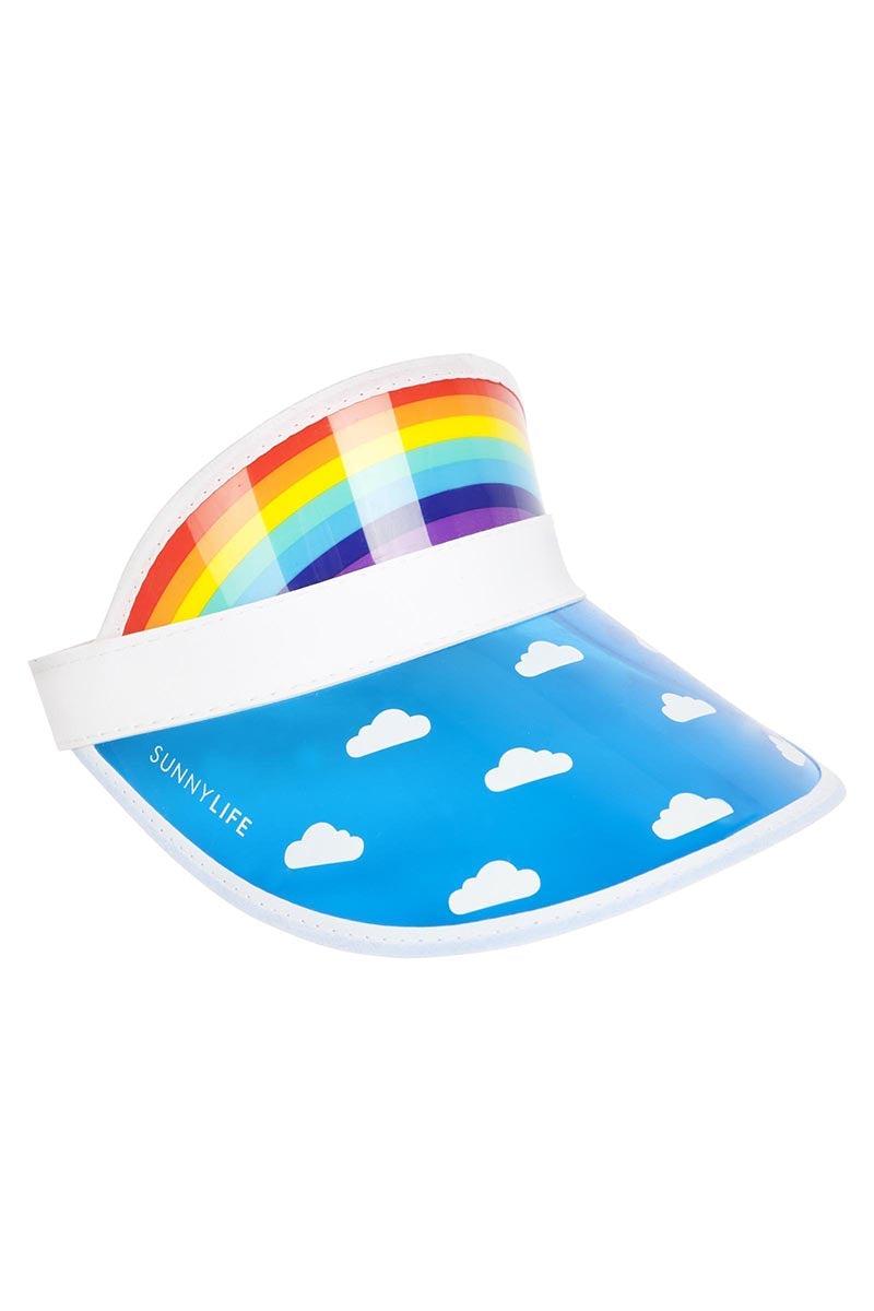SUNNYLIFE Retro Sun Visor - Rainbow Hat | Rainbow| Sunnylife Retro Sun Visor - Rainbow Side View 90s Style Retro Sun Visor Rainbow Print on Crown White Hat Band Cloud Print on Brim