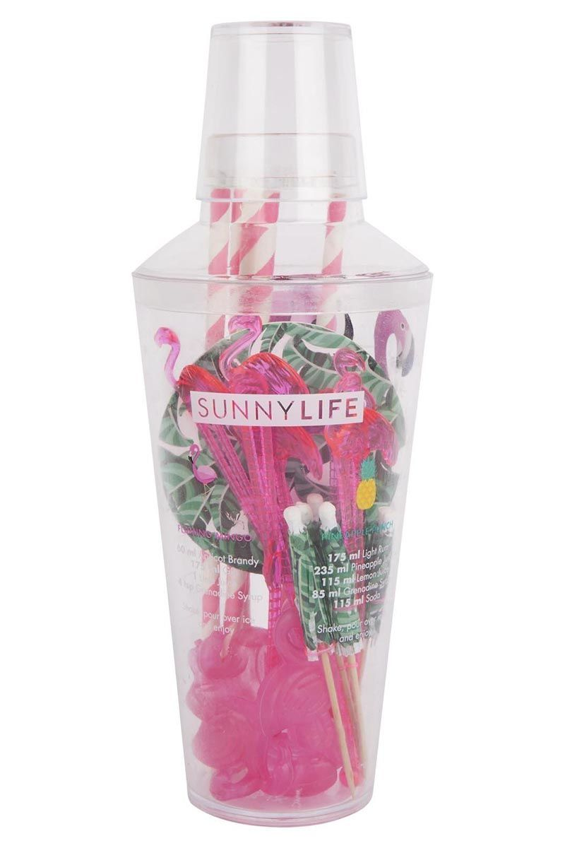 SUNNYLIFE Tropical Cocktail Kit Accessories | Tropical Cocktail Kit| SUNNYLIFE Tropical Cocktail Kit Features:  Tropical Cocktail Party Kit. Set includes x1 shaker, x6 coasters, x6 cocktail umbrellas, x6 paper straws, x6 stirrers and x6 ice cubes. Features 4 delicious cocktail recipes. Suitable for ages 12+ BPA Free Material/s: PS (BPA free), PE, Paper Packaged: 3.7 x 3.7 x 9.8 In Weight: 0.7 Lbs