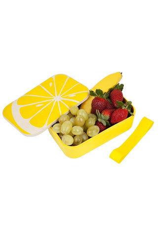 SUNNYLIFE Eco Lunch Box - Lemon Accessories | Lemon| Sunnylife Eco Lunch Box - Lemon Open View