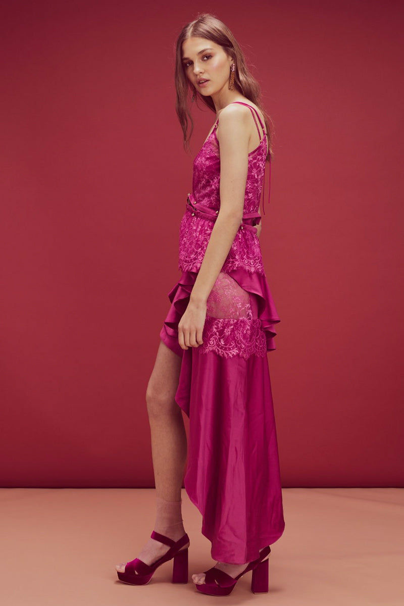 11252165ea1 ... FOR LOVE AND LEMONS Sabina Layered Hi-Lo Maxi Dress - Fuchsia Dress